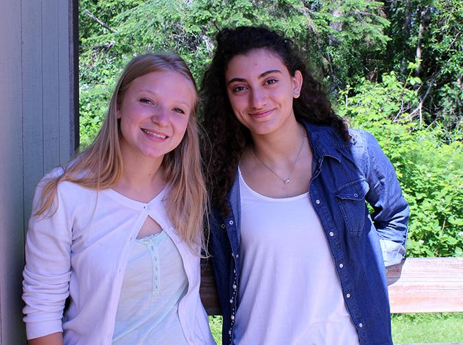 "(Left to right) Seniors Noemie Bonbled and Maria Valentini take a moment to appreciate each other, and the time they spent in Lake Stevens as friends and host-sisters on the senior class's last day at the high school. ""I met such a good people here, my friends helped me a lot my teachers too. I felt really good they didn't make fun of my accent they just accepted me,"" said Valentini."