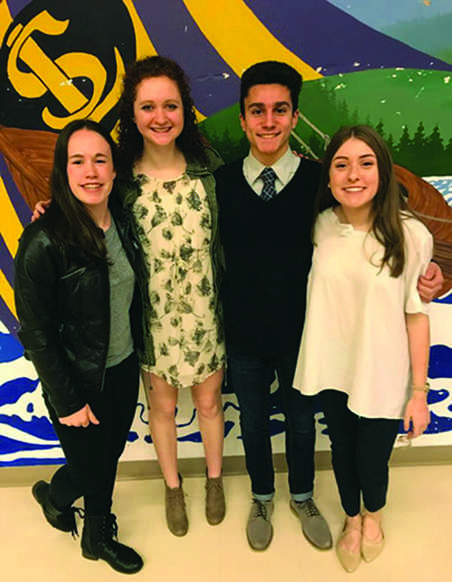 "Juniors Camryn DuBois, Ainsley Mattingly, Nicholas Peña and Gaby Delgado stand after their elections as Vice President, Public Relations, President and Secretary/Treasurer, respectively. ""I'm so excited for next year. I can't be more blessed than this right now,"" 2017-2018 ASB President Nicholas Peña said. (Photo courtesy of Samir Nasr)"