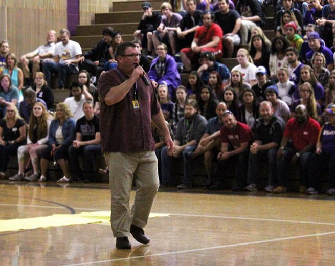 "Principal of five years, Eric Cahan is brought to tears at the last assembly as he says a farewell to the students and staff on the seniors' last day. Principal Cahan was moved by the appreciation shown by everyone. ""It is one of the best schools in the entire state,"" said Principal Cahan."