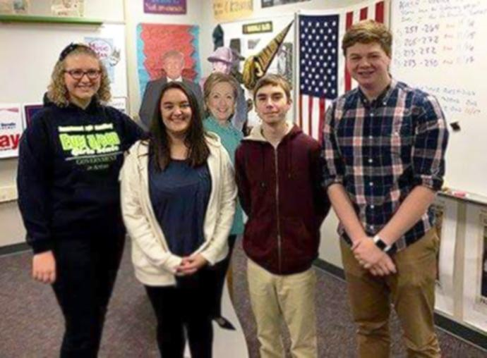From left to right: Elizabeth Stanton, Zoey Gonzales, Derek Magruder, and Hayden Davis. The all-senior Knowledge Bowl team won first place in a recent competition at Jackson High School.