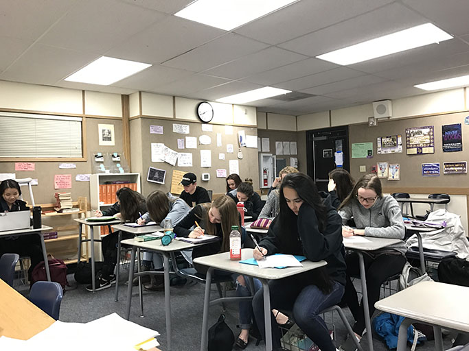 Mr.Newtons first period AP Language and Composition class writing practice essays for the upcoming exam. The AP Language and Composition exam takes place on May 10th.