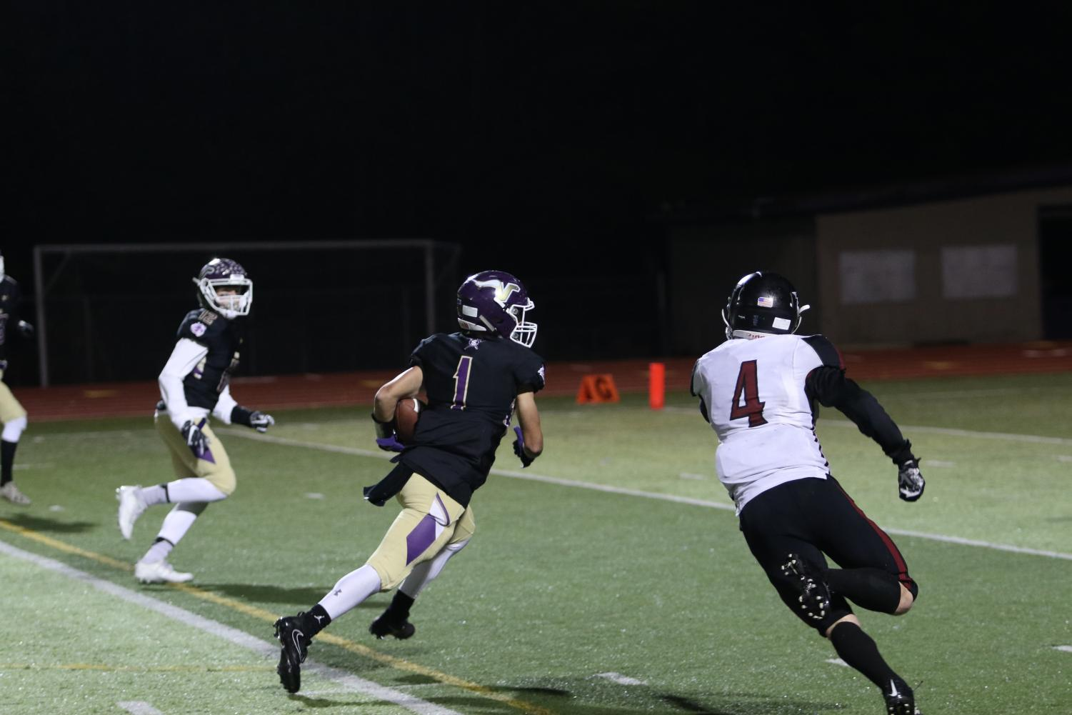 Junior Ian Hanson guns it for the end zone after making a catch in the first quarter. Lake Stevens won 51-0. The Vikings will play the Graham-Kapowsin Eagles next week at Lake Stevens High School.