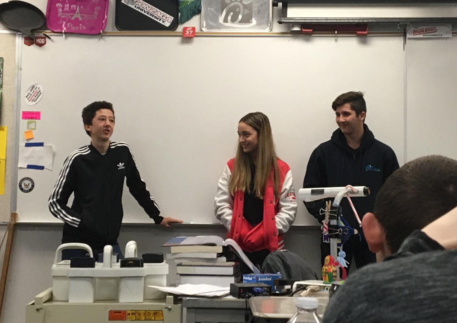 Welcome to class: Three Australian exchange students are brought to the attention of Mr. Flanders' second period class. Madilyn Ridgeway, Reece Ryan and Konnor Furber were given the assignment of telling the American students about their 'lifestyle'. In the back of the classroom, hosts Mitchell Hoffman and Sydney Peterson are chuckling watching their newfound friends struggle under the pressure.