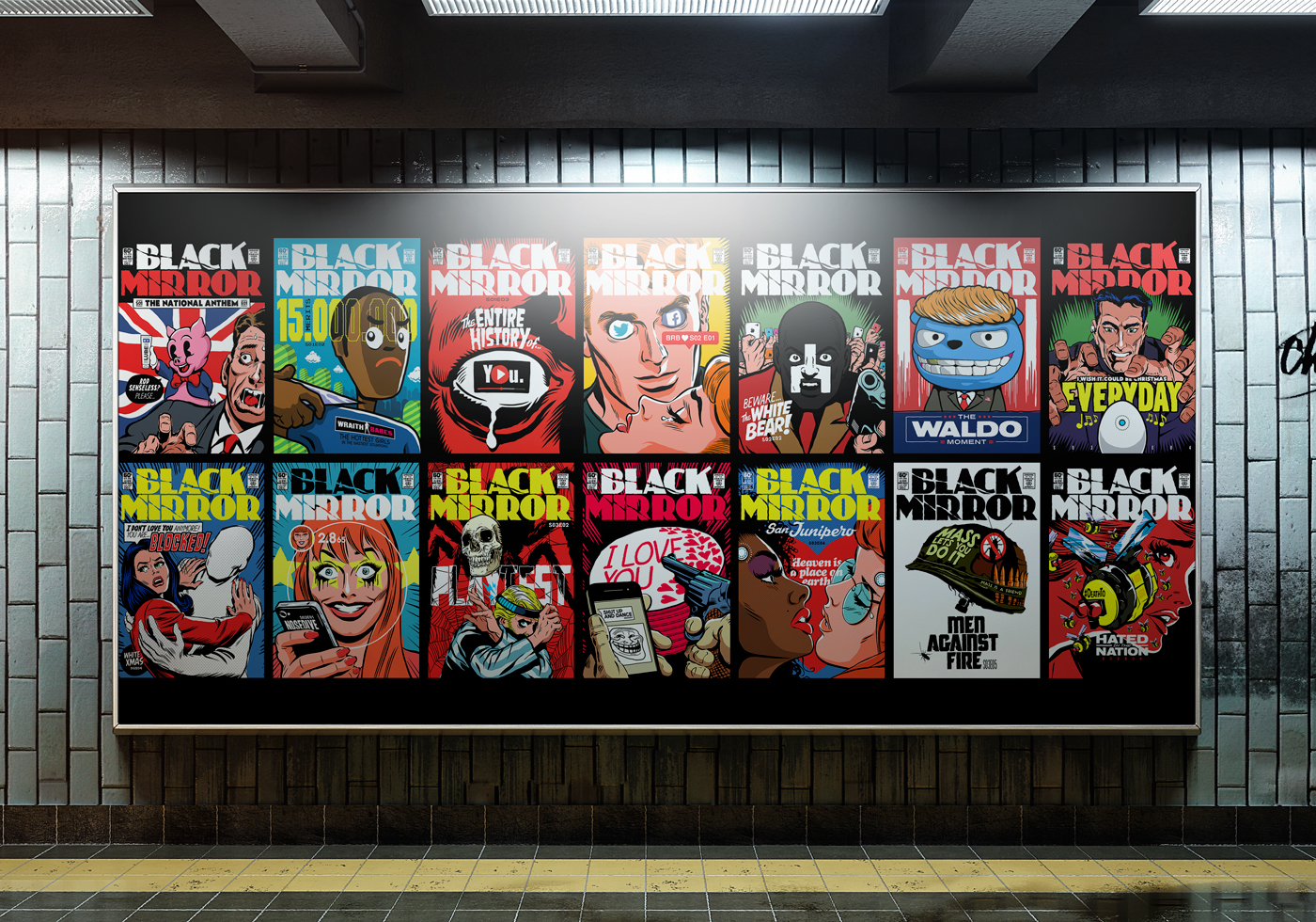Comic-Sans Horror: Butcher Billy, a Brazilian artist and creator of contemporary art has his work on display- vintage comic book style cover art designed in caricature of each episode of Black Mirror. The art itself is difficult to depict without having watched the episodes, although even without context were quite intriguing.