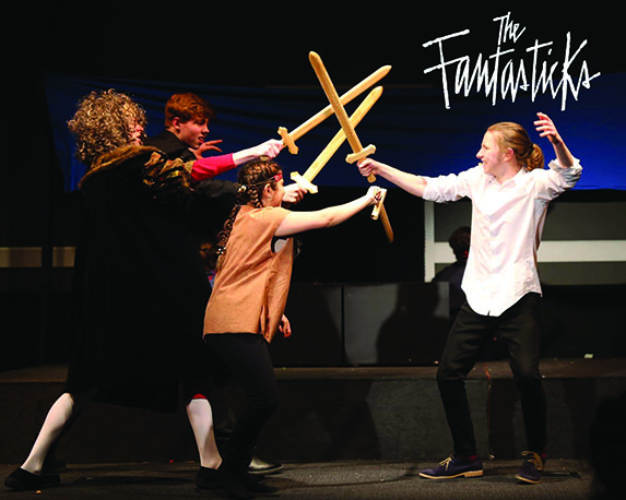 TOUCHÉ: Seniors Joshua Day, Luke Joss, Julia Pinheiro, and sophomore Ryan Van der Put play out the fight scene during dress rehearsal. The cast became really close due to the small number of characters in the show.