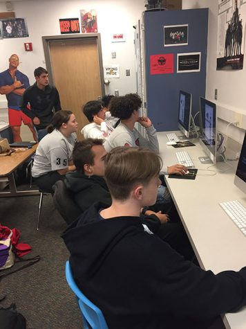 Rhys Netherton, Dustin Cole, Mykah Carter, Gabe Christensen, Elam Roldan, Kyleigh Lynn, and Shae Copeland editing in Video Production Class.