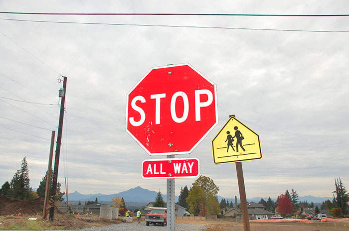 The+stop+sign+is+a+metaphor+that+students+can%E2%80%99t+leave+during+school+hours