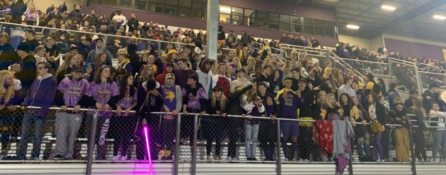 "Let's! Go! Lake! Lake Stevens Vikings Superfans preparing for the first playoff football game. All the students showed their spirit by being in viking gear. ""There so much fun with alot of energy!"""