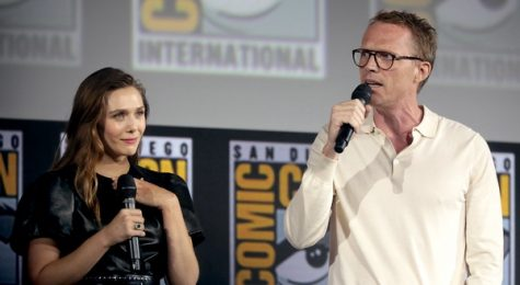 WandaVision stars Elizabeth Olsen (left) and Paul Bettany (right) speaking about the series at the 2019 San Diego Comic Con.