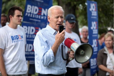 "Joe Biden speaks at a campaign event in Iowa, March 2019 (Pre-COVID-19). During the Primary Presidential election, in reference to the Crime Bill Biden said, ""I haven"