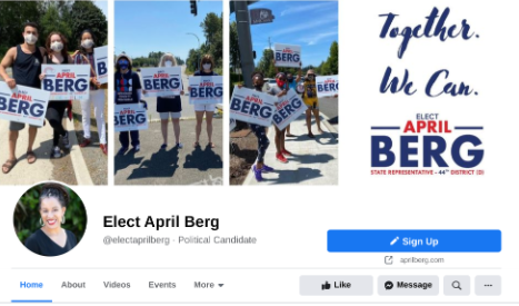 "April Berg campaign FaceBook page.  ""[COVID] was a dark cloud that hung over the campaign,"" Johnson said. Photo courtesy of the Berg campaign."