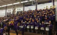 The LSHS pep band performs at a 2020 basketball game before the school's close.