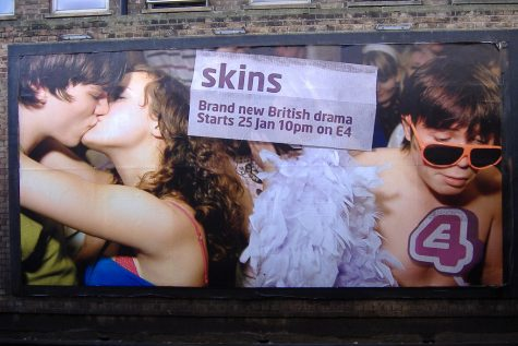 "Real-life through television?  Here we have the billboard for the premiere of the British show Skins, from left to right is Tony (Nicholas Hoult),  Michelle (April Pearson), and Chris (Joe Dempsie.) Skins later went on for another 7 seasons. ""It"