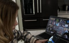 """Hooked: Seventh-grader Sydney Scott spends a great amount of time on Tiktok. Although TikTok provides entertainment for a wide demographic, people have questioned if the viral videos people find funny are actually funny or a way of coping with their lives. """"I feel like I need to grow up and be more like the people I see on TikTok, and if I'm not I'm not considered 'normal', Scott said."""