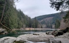 Gorgeous river near Eagle Falls, WA: The water is rising and the temperature is quite pleasant. Last summer portions of this river were packed with people on inner tubes and floaties.
